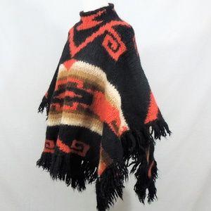 Vintage Blanket Poncho Wool Cape Fringe Native